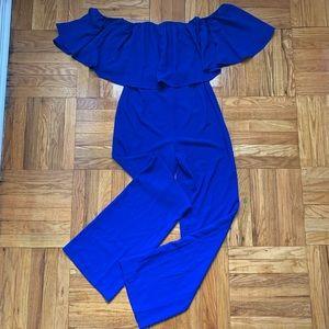 NWT Zara Royal Blue Ruffle Jumpsuit Medium